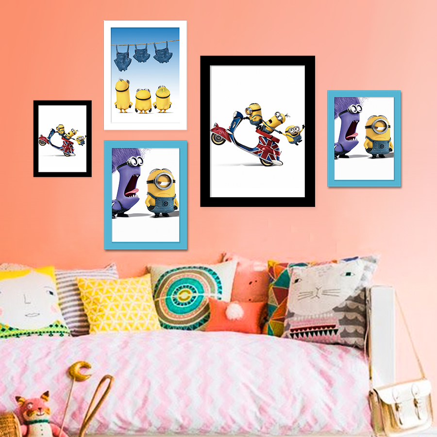 cartoon art print poster minions wall pictures canvas painting with cardboard frame christmas decorations for home - Minions Christmas Decorations