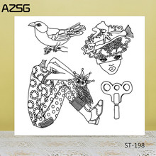 AZSG Clockwork Owl Man Clear Stamps For DIY Scrapbooking/Card Making/Album Decorative Silicon Stamp Crafts