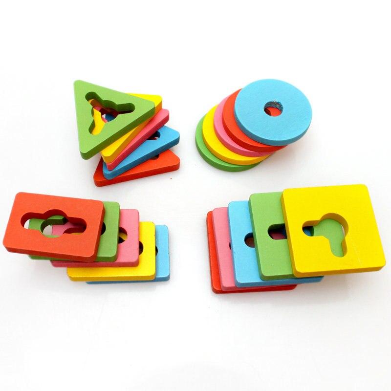 Besplatna dostava Djeca četiri stupca odijelo drveni građevni - Igračke za bebe i malu djecu - Foto 5