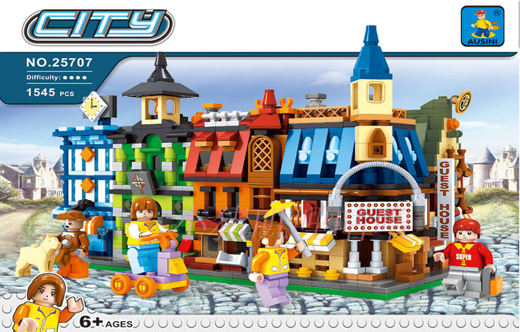 Model building kits compatible with lego new city building 3D blocks Educational model building toys hobbies for children model building kits compatible with lego city girl friends 4 in 1 mini street view 3d blocks model building toys hobbies