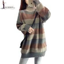 купить Women Turtleneck Sweater 2018 Autumn Winter New Pullover Tops Female Loose Striped Color Matching High Collar Warm Knit Sweater онлайн