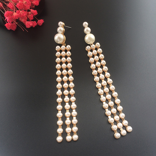 Luxury Design Fashion Long Pearl Earrings For Women Antique Vintage Dangle Tel Drop