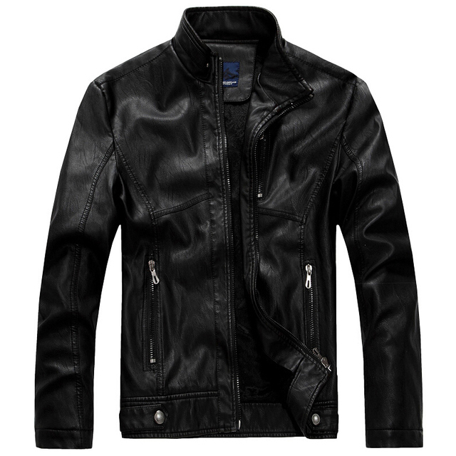 Brand New Leather Jacket Men Stand Collar Men's leather PU Jackets + Motorcycle style Men Autumn Winter Velvet Male Clothing