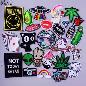 Nirvana Maple Leaf Patch Embroidery Patches For Clothing Cute Cat Unicorn Animal Iron On Patches On Clothes Watermelon Sticker(China)