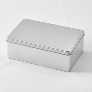 4pcs 20*13*7cm Silver Plain Tin Box For Food Chocolate Biscuits Cookies  Large