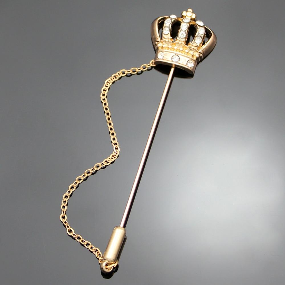 Gold Men Crown Tiara Cross Crystal Chain Lapel Pin Stick