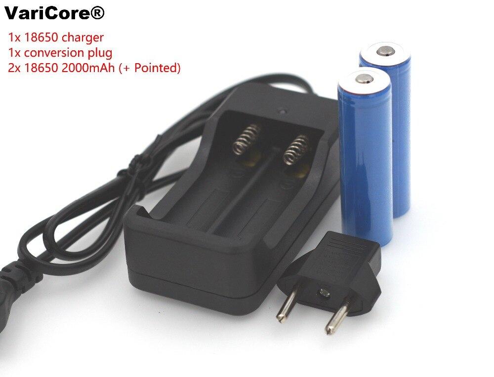 2 pcs Marque nouvelle batterie 18650 3.7 V 3000 MAH Li ion Rechargeable batterie piles de Lampe Torche + 1x18650 chargeur intelligent