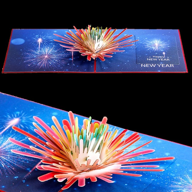 1pc Handicrafts 3d Pop Up New Year Fireworks Greeting Card Christmas