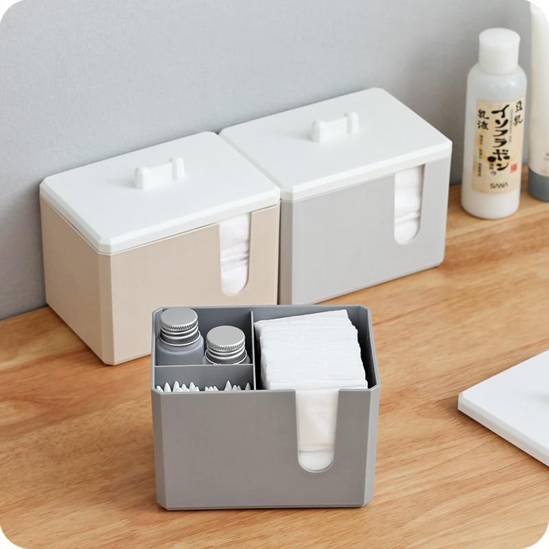 Simple Desktop Makeup Storage Box Makeup Brush Cotton Pad Desktop Finishing Organizer Cotton Swabs Organizer Box Plastic Box