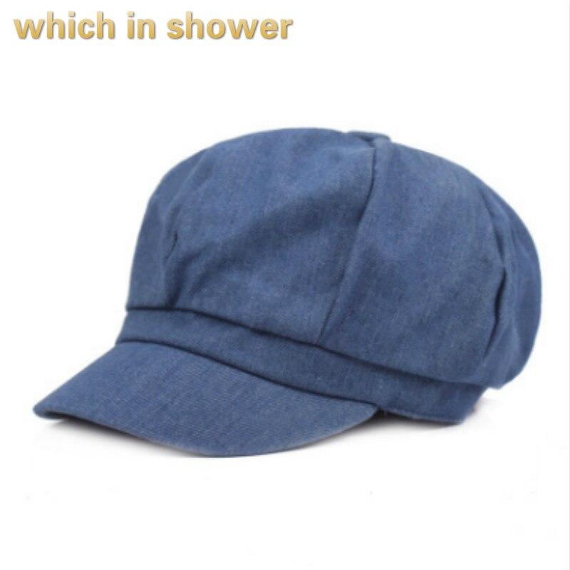 Qui dans la douche solide denim gavroche casquettes femmes fille béret femelle vintage bec de canard plat chapeau occasionnel d'été bouchon octogonal bord os