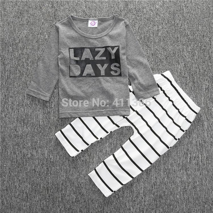 ST189 2017 Nowa dziewczyna przyjazdu i chłopców ubrania ustawić długi rękaw + Spodnie sowa wzór zestaw noworodka ubrania dla dzieci garnitur dzieci odzież 23
