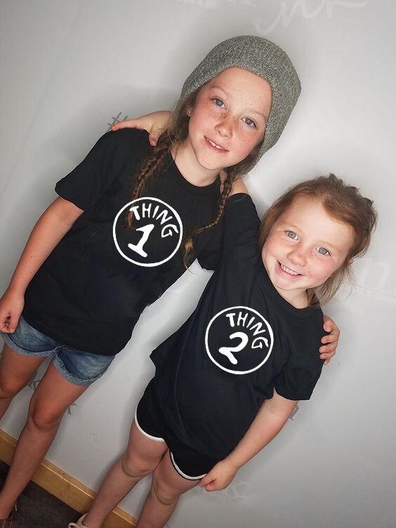 Thing 1 & Thing 2 Kids Fashion Tshirt Family Matching Boys Girls Short Sleeve Baby Twin Tshirt Tops Girls Tee Shirts Tops