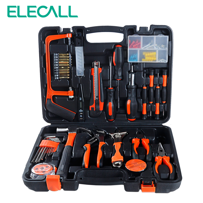 ELECALL 100 PCS ET-DZ100 Hand tool set Household-hardware Combination Tool Box Tools Kit Knife screwdriver pliers kit 10 in 1 rc helicopter screwdriver pliers hex repair tools kits box set combination hand tool set