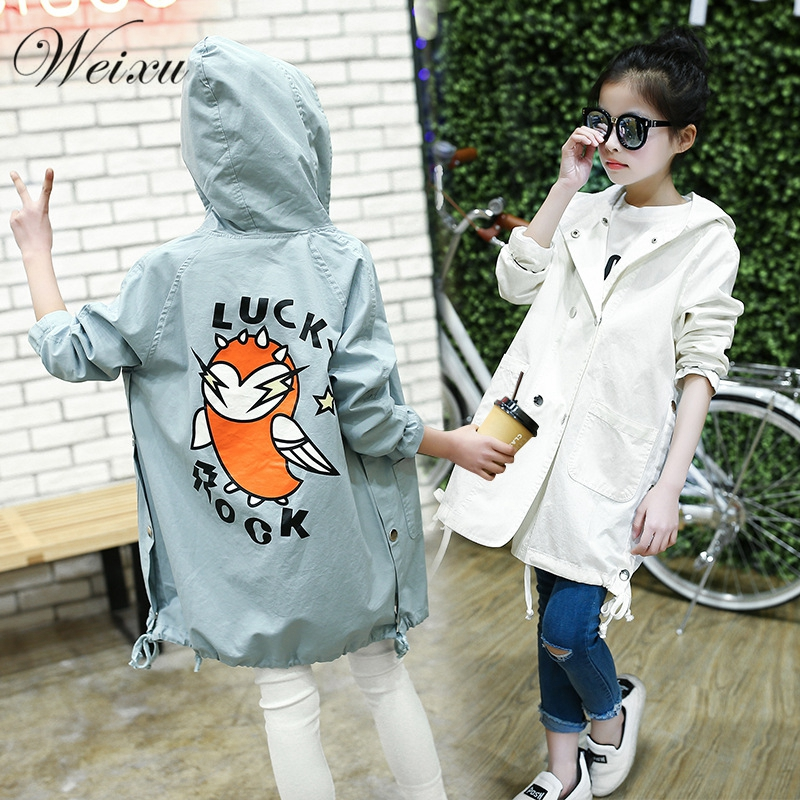 Weixu/Детская ветровка для девочек; модная детская весенне осенняя верхняя одежда с рисунком птицы; куртка; длинный плащ с капюшоном для подростков
