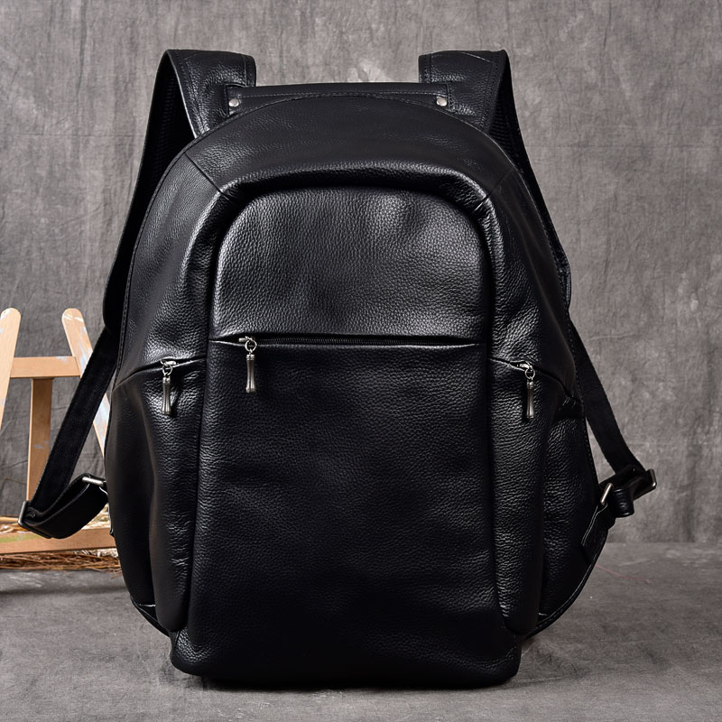 Men Genuine Leather cow Backpack External USB Charge Waterproof Backpack 100 real Leather Travel Bag School
