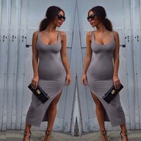 Europe And America Tight Stretch Sexy Package Hip Split Bar Woman Dress Sleeveless Low Cut Sexy