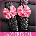 1 Par Pink Flowers Auto Diamante Cubierta Del Cinturón de seguridad Del Cinturón de seguridad Pad Car Styling Traje Para Todos Los Coches