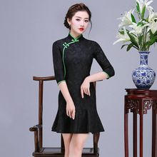 Traditional Chinese Lace  Mini Dress Womens Red Cheongsam Size S to 2XL