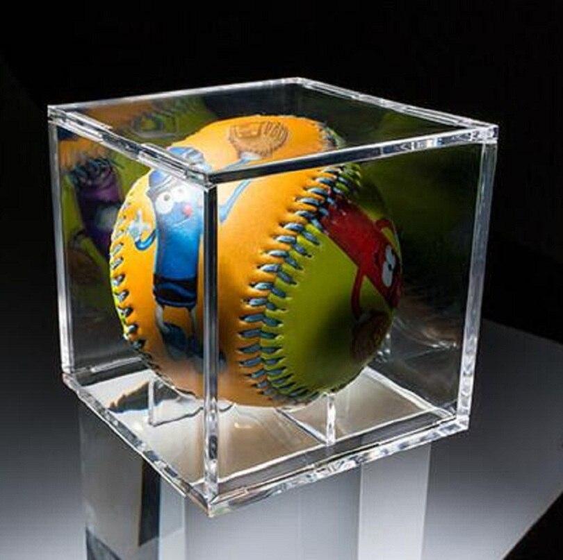 8 cm Acryl Baseball box verwandte Display Cube Tennis transparent Fall für ball Souvenir Lagerung Boxen Halter UV Schutz