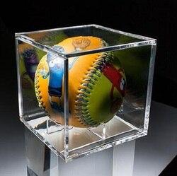 Caja de béisbol acrílica de 8 CM caja de exhibición relacionada Cubo de tenis funda transparente para cajas de almacenamiento de recuerdo de bola soporte protección UV