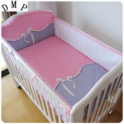 Promotion! 5PCS Mesh Bumpers Baby Bedding Set Bumper Bed Sheet Crib Bedding Set Cot Set,include(4bumpers+sheet)