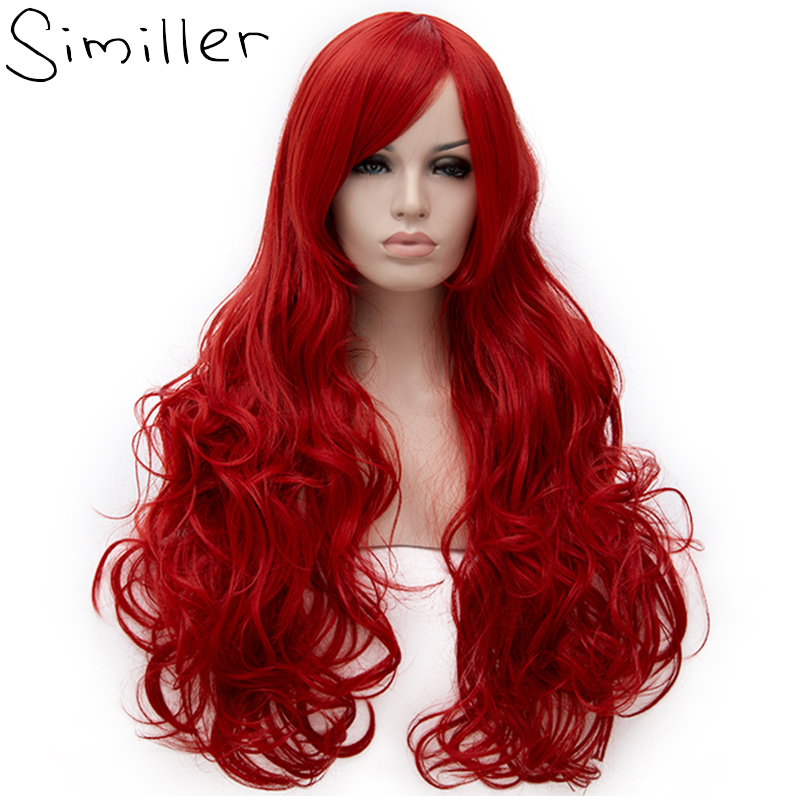 Similler 80cm Long Curly Fluffy Red Cosplay Women Synthetic Wigs For Party High Temperature Fiber Black