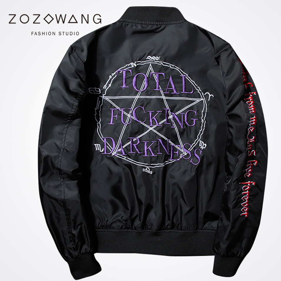 Zozowang 2017 new solid letter Five pointed star Embroidery loose bomber jacket men zipper streetwear air