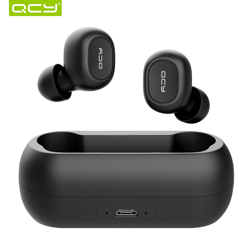 2018 QCY T1C Mini Bluetooth Earphones with Mic Wireless Sports Headphones Noise Cancelling Headset and charging box(China)