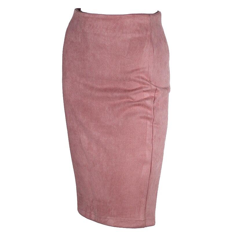 Super Deals Fashion Women Suede Solid Color Pencil Skirt Female Spring Autumn Basic High Waist Bodycon Split Knee Length Skirts 5