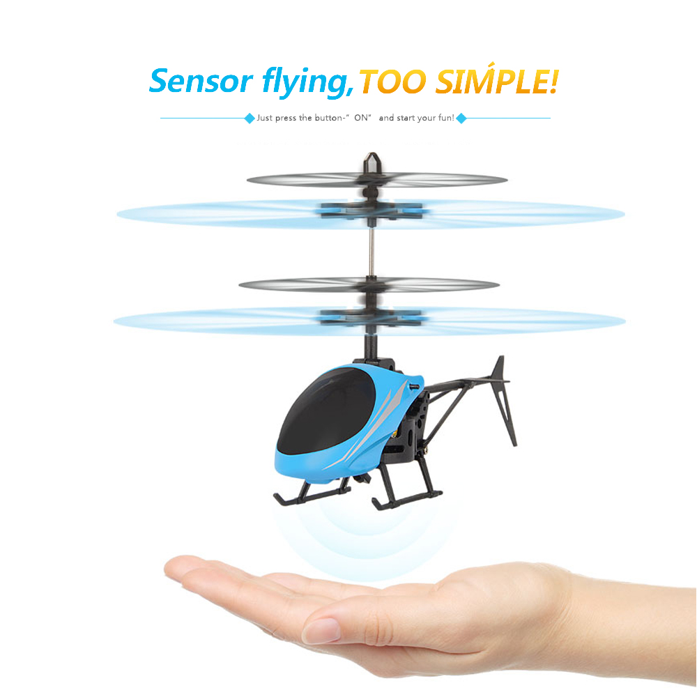 EBOYU(TM) Utoghter 69202 Flying Mini RC Infraed Induction Helicopter Aircraft Flashing Light RC Helicopter Drone for Kids RTF