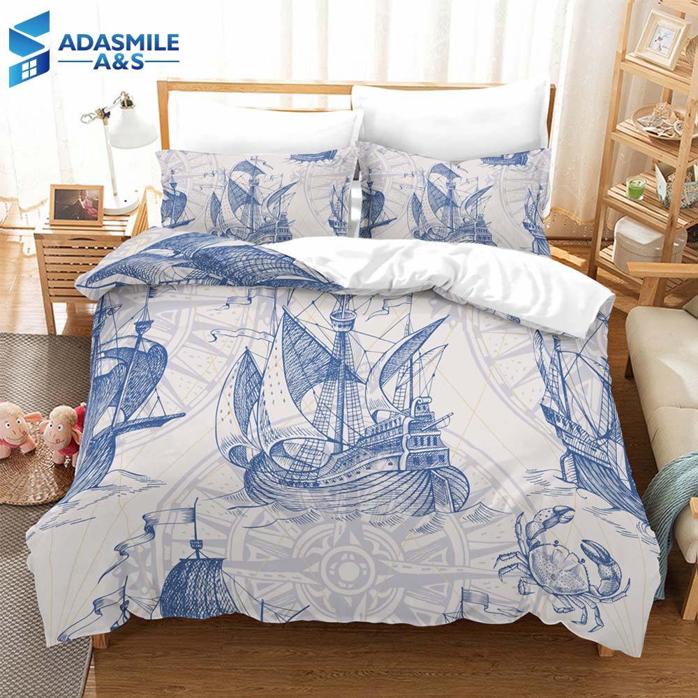 Fashion Bed Linens Set Digital Printing Nautical Ship Beding Duvet Cover Set Soft Comfortable Boys Bedclothes US Twin Queen