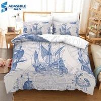 Fashion Bed Linens Set Digital Printing Nautical Ship Beding Duvet Cover Set Soft Comfortable Boys Bedclothes US Twin Queen