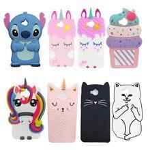 3D Cartoon Silicone Case For Huawei Y6 2017 MYA-L22 MYA-L03 5.0 Soft Cover Cute Unicorn Stitch Minnie Cat Cupcake Phone Fundas