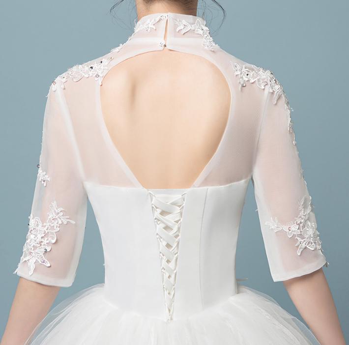 VAMOLASC paillettes col haut dentelle Appliques robe de bal robes de mariée Illusion demi manches dos nu robes de mariée - 6