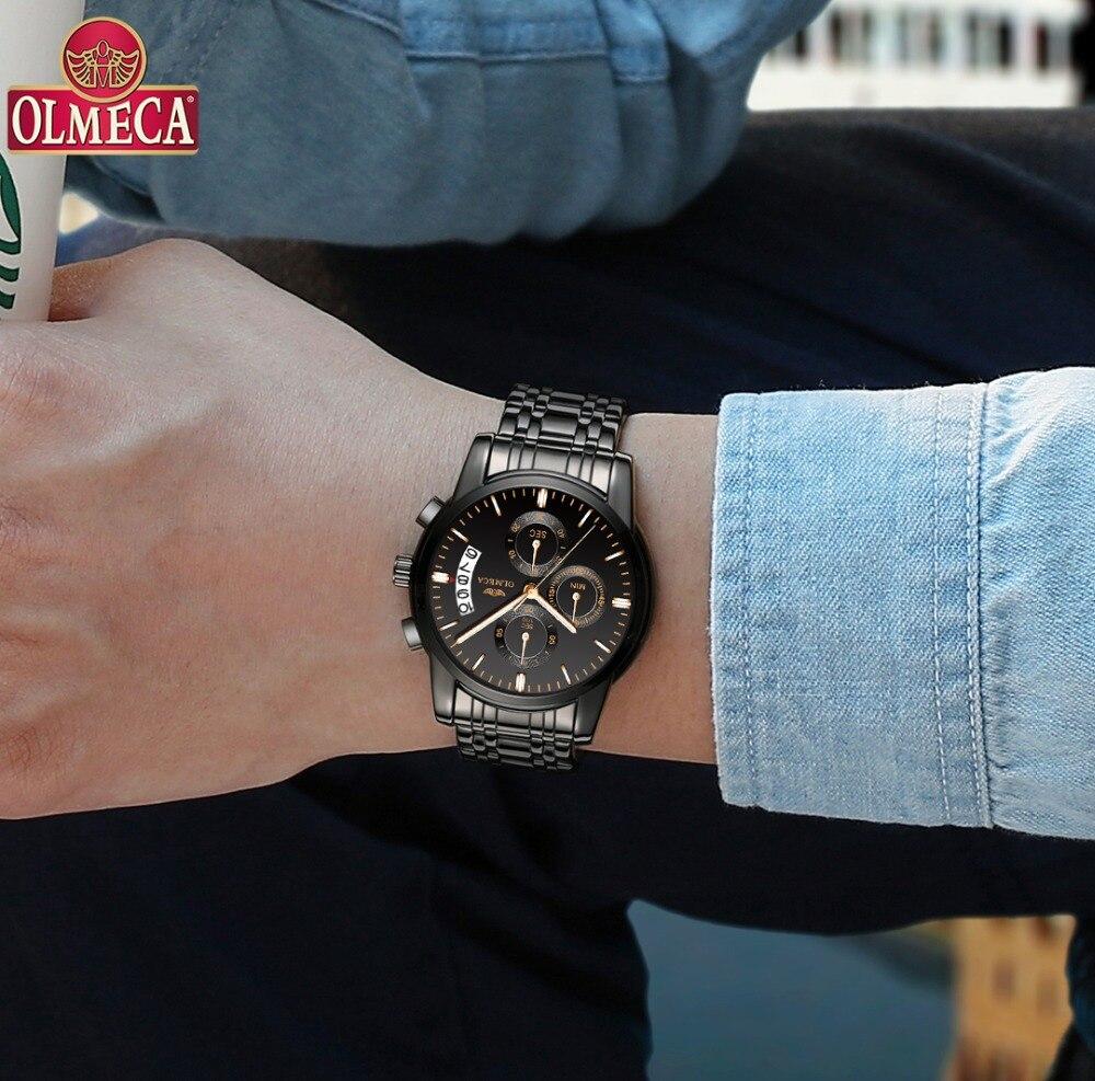 f0c6201fe35f OLMECA hombres reloj superior de la marca de lujo de Relogio Masculino  impermeable relojes de acero inoxidable de moda calendario completo reloj  de pulsera ...