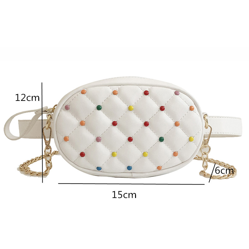 Colored Rivets Design Waist Packs Quilted PU Leather Shoulder Bags Women Fanny Pack Ladies Luxury Belt Bag
