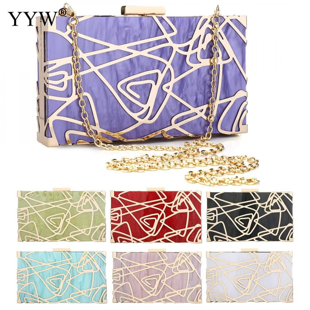 Women Shoulder Crossbody Bags Acrylic Hard-Surface Clutch Evening Phone Wallets Gold Clutches Geometric Box Bags With Chain