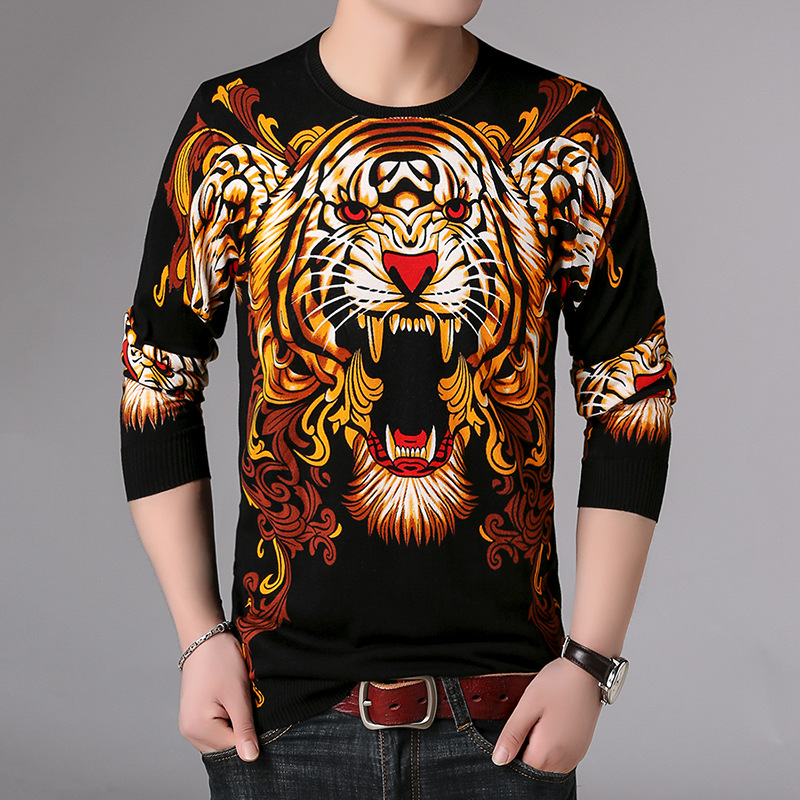 Chinese Style Animal Tiger Pattern 3D Printing Boutique Pullover Sweater Autumn 2018 Quality Soft Comfortable Sweater Men M-XXXL