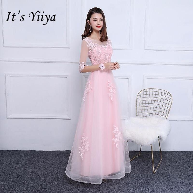 It's YiiYa Hot Half Sleeve O-Neck Prom Dresses  Luxury Charming Mesh Floor Length Lace Evening Dress LF006