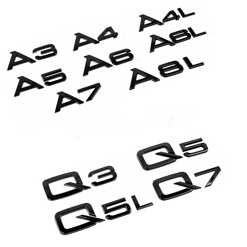 New Glossy Black Trunk Lid Traseiro Etiqueta Do Carro Do Emblema Do Emblema Para A3 A4-A8 A8L S3-S5 Q5 Q7 SQ3 SQ4 SQ5 SQ6 SQ7 RS3 RS4 RS5 RS6 R8 V10