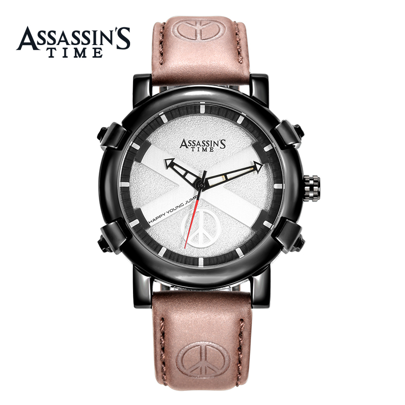 Assassins Time Brand Watch Men Quartz Male Watches Äkta Läder Rem - Herrklockor - Foto 1