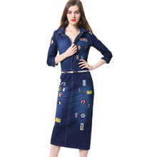 2017 Spring New Women V-neck 3/4 Sleeve Slim Mid Long Step Denim Dress Letters Embroidery Blue Stretch Jeans Dress Female
