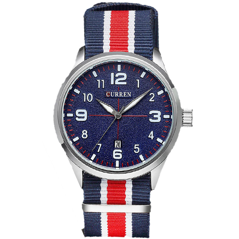 Top Brand Curren Military Watch Casual Watches Men Wristwatch Fabric Strap Quartz Sport Wrist Watch Men's Clock Male Xfcs Reloj eyki top brand men watches casual quartz wrist watches business stainless steel wristwatch for men and women male reloj clock