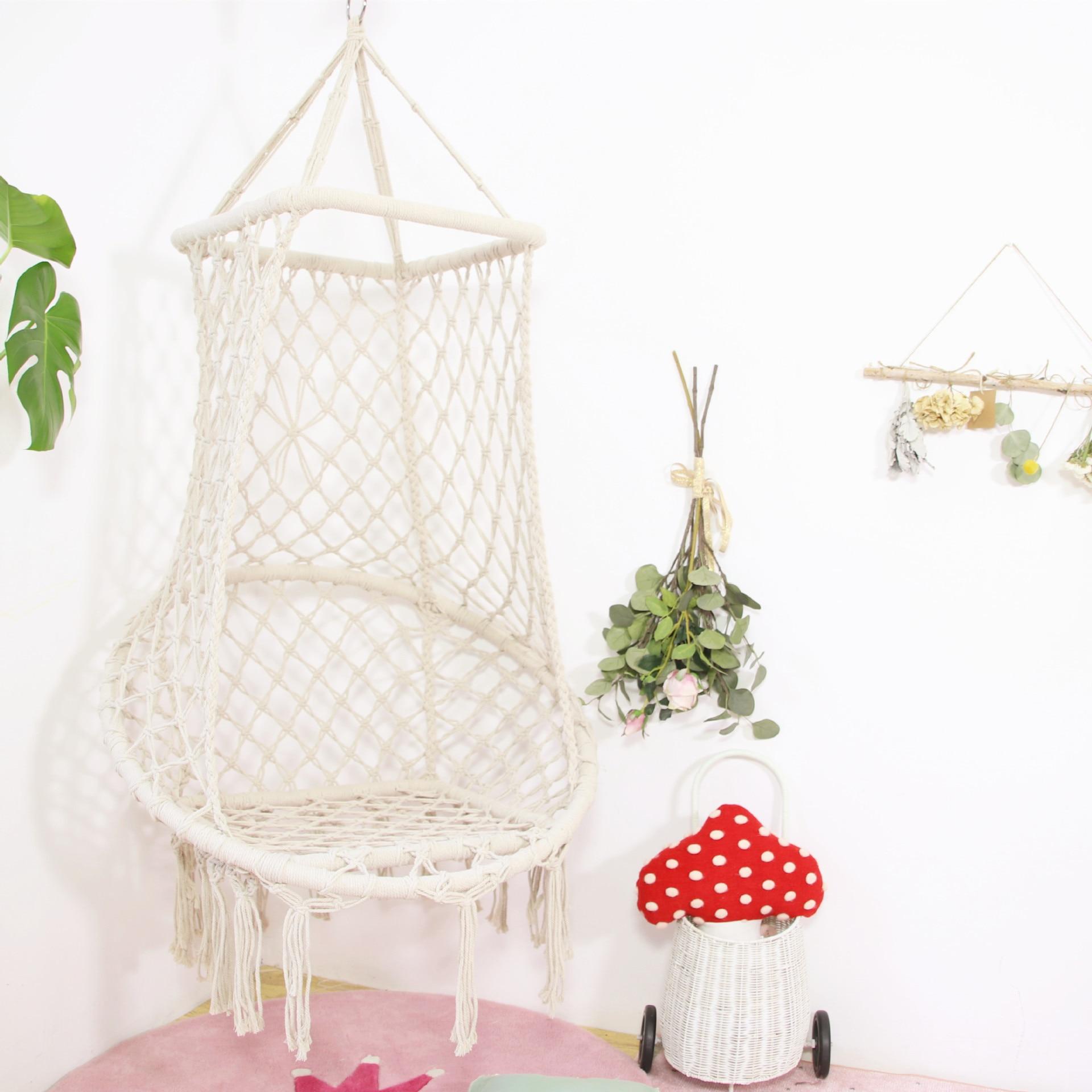 Style nordique suspendu corde hamac chaise coton suspendu macramé hamac balançoire chaise idéal pour intérieur enfants chambre jardin