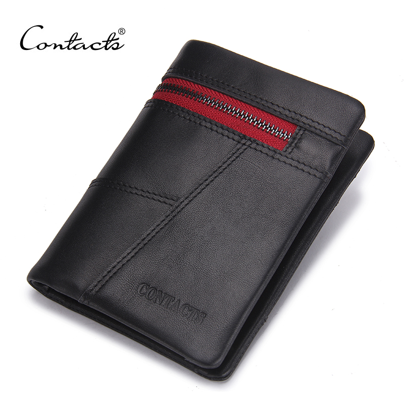 CONTACT'S Brand Design Red Zipper Black Wallets Genuine Leather Men Wallet Coin Pocket Card Holder Purse Male Carteira Purses