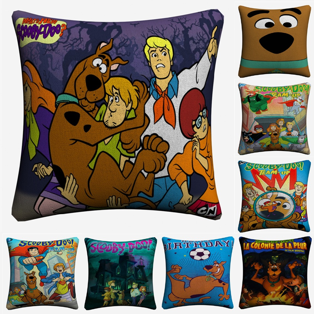 Scooby Doo Cartoon Movie Decorative Cotton Linen Cushion Cover 45x45cm For Sofa Chair Throw Pillow Case Home Decor Almofada