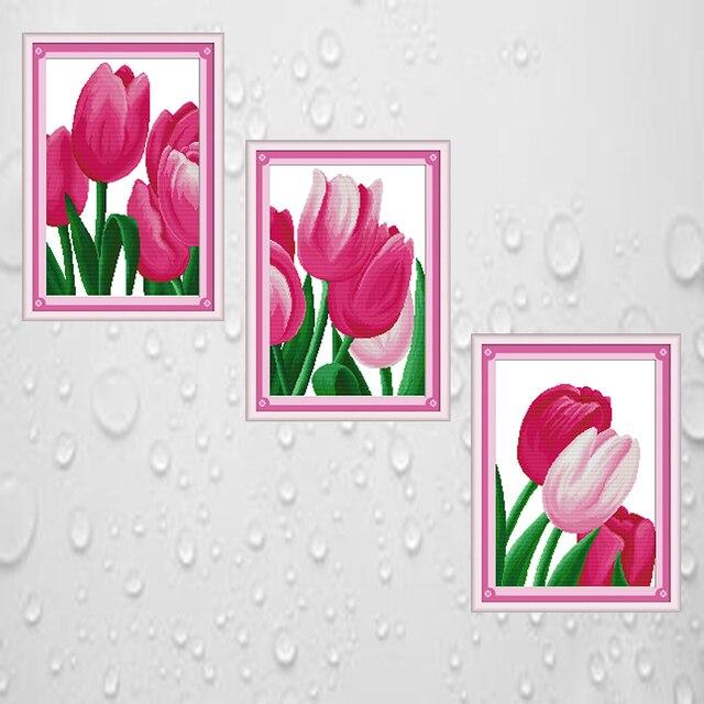 Joy Sunday cross stitch kits diy Pink tulip DMC14CT11CT cotton ...
