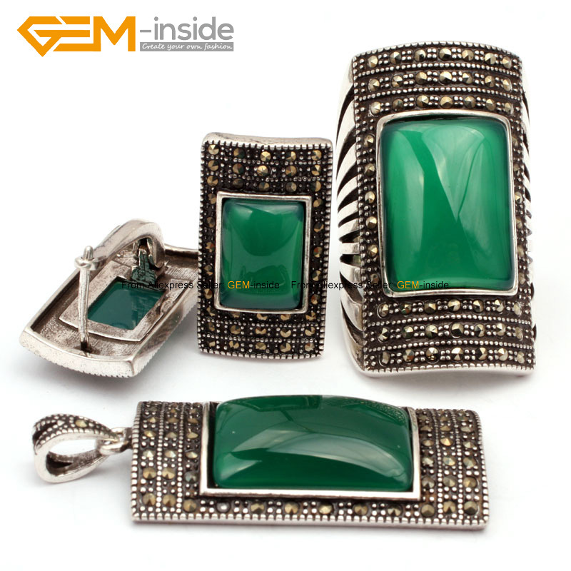 Antiqued Silver Ring Earrings Pendant Jewelry Sets Rectangle Agates Beads Fashion Jewellery Set Free Shipping Wholesale