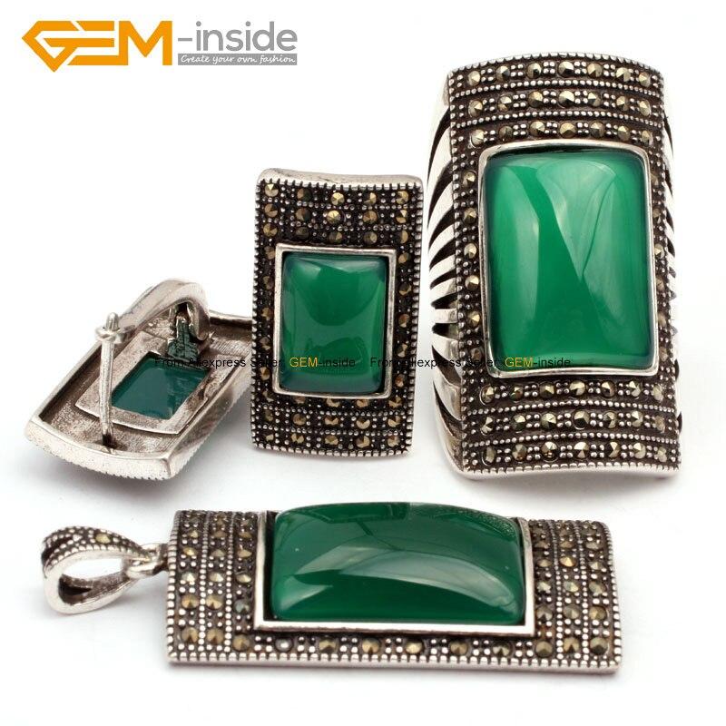 Antique argent bague boucles d'oreilles pendentif bijoux ensembles Rectangle Agates perles mode bijoux ensemble livraison gratuite en gros gemme