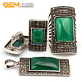 Antiqued Silver Ring Earrings Pendant Jewelry Sets Rectangle Agate Beads Fashion Jewellery Set Free Shipping Wholesale Gem